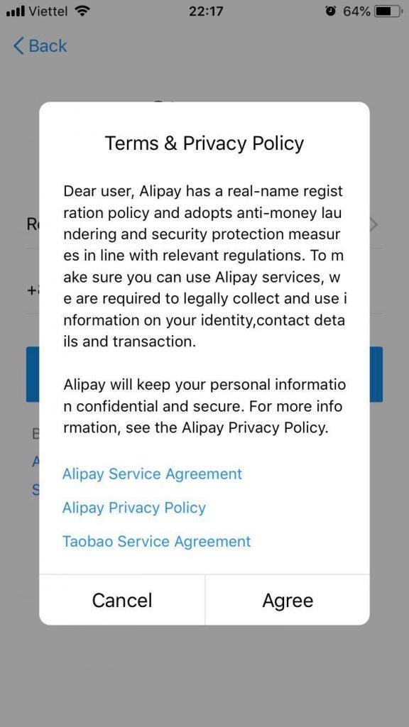Đồng ý lập tài khoản Alipay