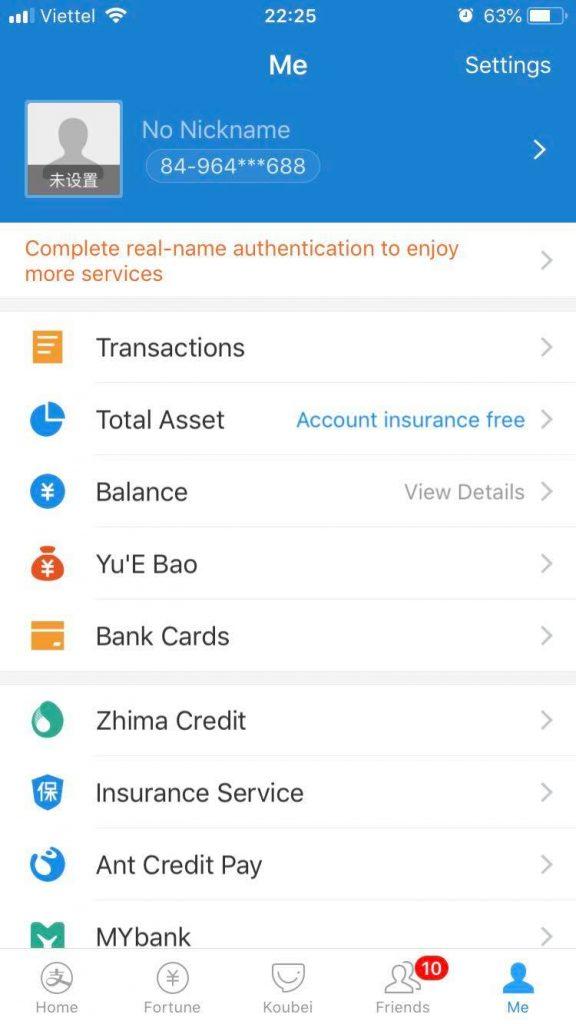 Chứng thực tài khoản Alipay