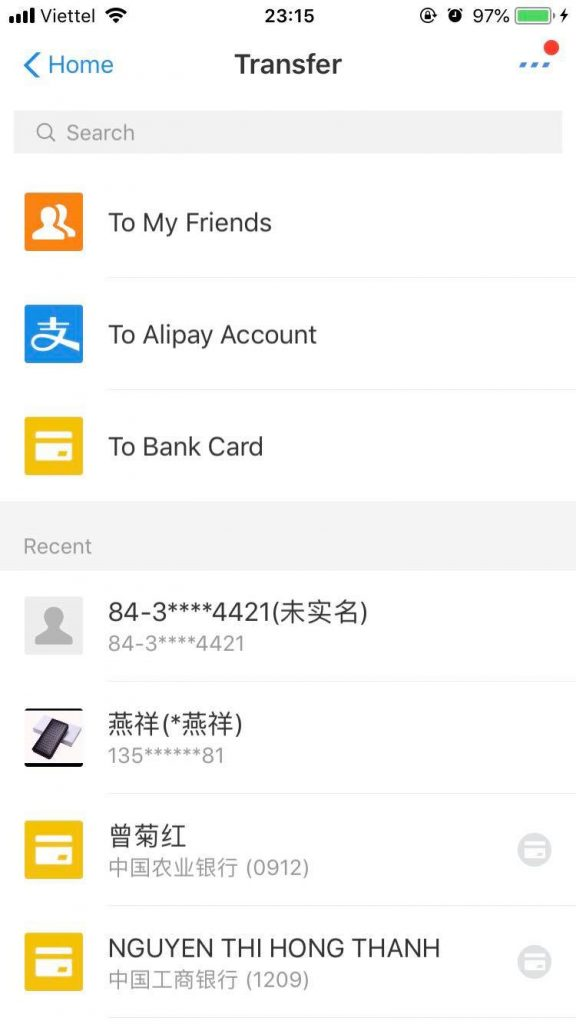 Chọn đối tượng nạp tiền Alipay